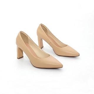 Giày Cao Gót 7cm Mũi Nhọn Đế Vuông Thon Pixie X552