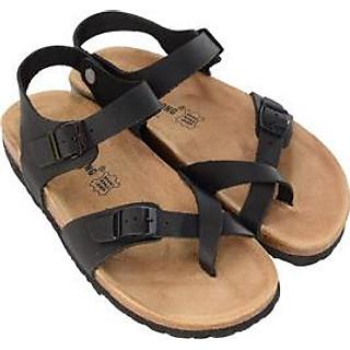 Sandal xỏ ngón da bò đen đế trấu