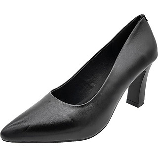 Giày Gót Vuông Cao 7cm Da Bò Thật Cực Mềm Dáng Đẹp Sang Trọng 7P0116 (Đen)