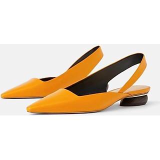 g69 Giày sục Sandal Da - Vàng