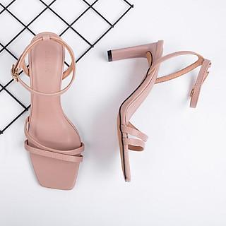 Giày Sandal Zelda Star mũi vuông gót cao 8cm quai ngang - SN007820