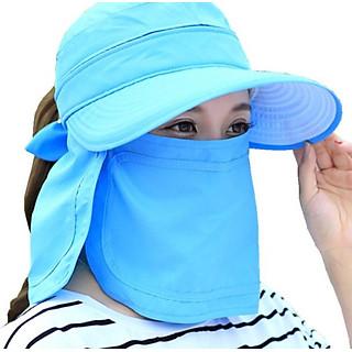 nón chống nắng rộng vành kèm khẩu trang tạo kiểu, mũ rộng vành chống nắng phong cách Hàn màu xanh ngọc