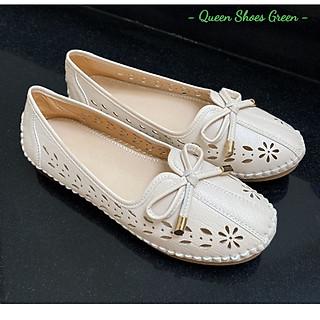 Giày lười nữ - giày búp bê, giày bệt nữ da mềm cắt lỗ Laze hoa văn cao cấp, đế cao su đúc siêu mềm size 35 đến 39 - GL06