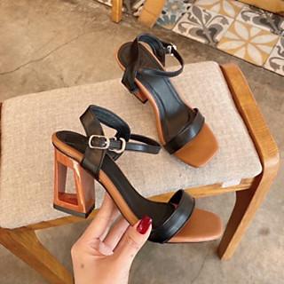 Sandal Nữ/ Giày Cao Gót Nữ Đẹp  Da Mềm Hở Mũi Đế Khoen Vuông Cao Cấp Cao 7 Cm Phong Cách Hàn Quốc.