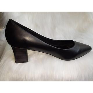 Giày bít da mủi nhọn gót trụ 5cm