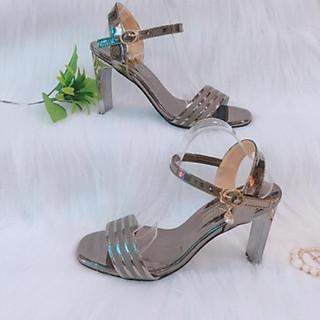 Giày cao gót 9p quai nhủ sọc kim tuyến