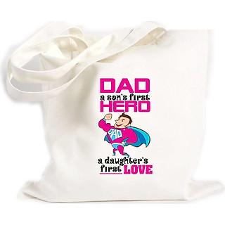 Túi Vải Đeo Vai Tote Bag In họa tiết Bố là anh hùng đầu tiên là tình yêu cầu của cô con gái
