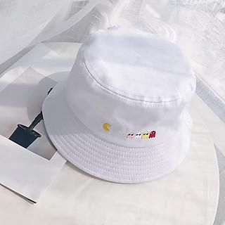 Nón bucket Pacman - Mũ mũ rộng vành đen thêu chữ nam nữ