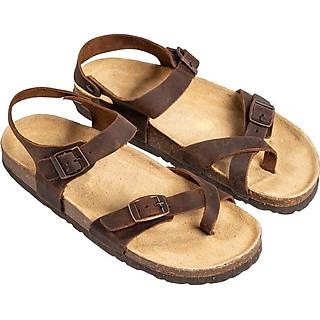 Giày Sandal Nữ Xỏ Ngón Da Bò Nâu Đế Trấu HuuCuong 2178