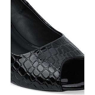 Giày Cao Gót Vân Cá Sấu Hở Mũi Rosata RO28 - Đen
