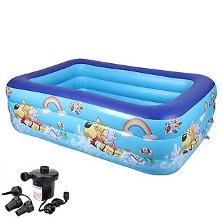 Bể bơi phao cho bé swimming pool KT 180*135*60cm (tặng bơm điện, 1 lọ keo và 2 miếng dán)