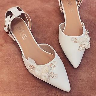 Giày cưới Nghé Art sandal gót vuông 3 phân 228