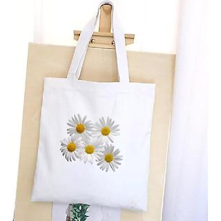 Túi Vải Đeo Vai Tote Bag In Hình Hoa Cúc - Mẫu004