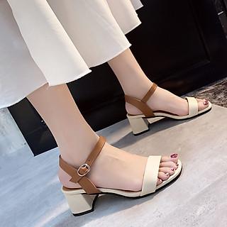 Sandal Cao Gót Nữ Đẹp/ Giày Cao Gót Nữ Đẹp Hở Mũi Chất Da Mềm Đế Vuông Cao Cấp Cao 5 Cm Phong Cách Hàn Quốc.