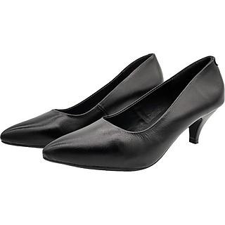 Giày Cao Gót 5cm Da Bò Thật Cực Mềm, Gót Nhọn Dáng Xinh Trẻ Trung 5P1416 (Đen)