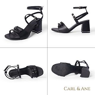 Giày sandal Erosska thời trang nữ quai ngang phối dây mảnh đính móc khóa tinh tế cao 6cm CS006