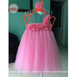 Váy công chúa cho bé thôi nôi - váy hồng phấn hoa dải cho bé