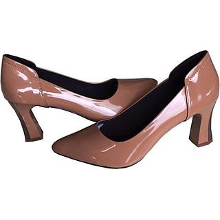 Giày cao gót 7cm Trường Hải gót to da bóng màu nâu thời trang cao cấp CG0411 [ HÌNH ẢNH THẬT ]