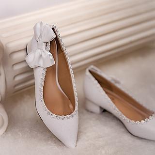Giày cưới Nghé Art gót vuông 199
