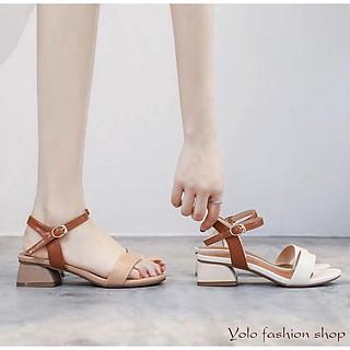 [Kèm Hình thật] S31_Sandal nữ quai ngang phối màu đế 3cm thời trang cao cấp