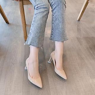Giày búp bê nữ thời trang da bóng gót nhọn, giày cao gót nữ mũi nhọn gót mica cao 7p màu kem