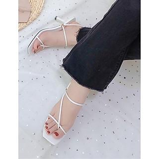 Giày sandal nữ quai mảnh xỏ ngón 2in1 gót nhọn 7p thời trang