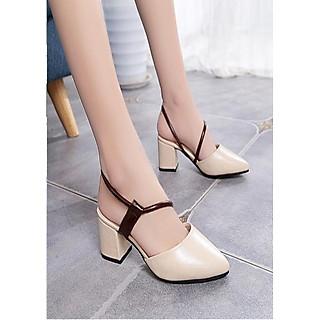 Giày cao gót / Sandal Cao Gót Da Nữ Cao Cấp Đế Vuông Cao 5p - YNQT001