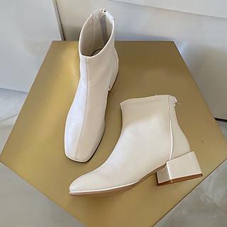 Giày Bốt Nữ Gót Vuông Da Lì Dáng Classic Thương Hiệu Laceva BS06