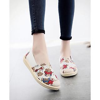 Giày Lười Tom 3Fashion Vải Mềm Chắc Chắn Đế Giả Cói In Họa Tiết Pé Gấu Dễ Thương - 3147 - Gấu