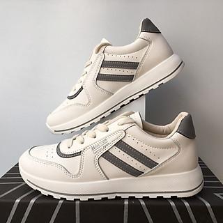 Giày trắng nữ da mềm kẻ sọc ghi