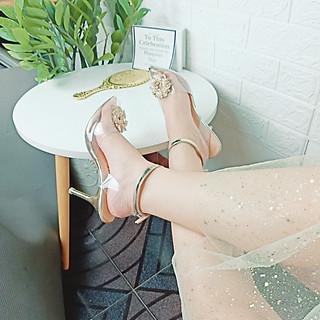 Giày cao gót 9p SHOP NHƯ Ý - Đính đá hoa mai quai vàng sang trọng (mai quai vàng)