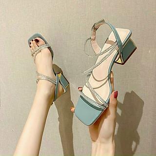 Giày Sandal  Nữ Dây Đan QUAI ĐÁ Gót 3p Siêu Sang Kèm Tất/Vớ Da Chân