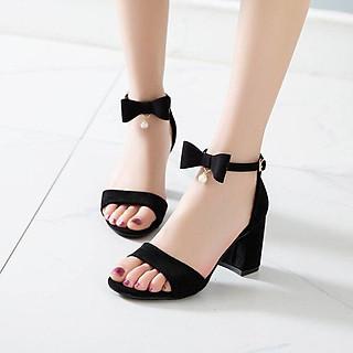 Sandal/ Giày Cao Gót Nữ Đẹp Quai Cài Ngang Phối Nơ Xinh Xắn Đế Vuông Cao Cấp Cao 7 Cm Phong Cách Hàn Quốc Mới.