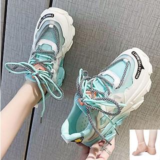 Giày Thể Thao Nữ Đế Phối Màu Siêu Lạ Mắt CX22 - Đế Nâng Chiều Cao Cá Tính - Chất Liệu Thoáng Khí, Êm Chân - Full Size - Hàng Chuẩn Đẹp - Tặng Kèm 1 Đôi Lót Bảo Vệ Gót Chân