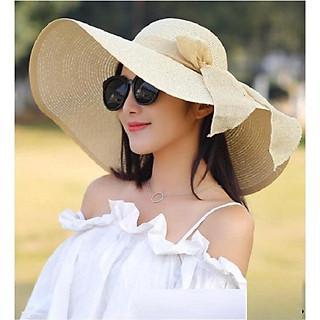 Mũ cói rộng vành phối ruy băng nơ cùng màu thời trang cho nữ