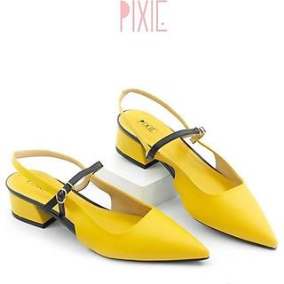 Giày Cao Gót 3cm Hở Gót Quai Ngang Mix Nhiều Màu Màu Vàng Pixie P244