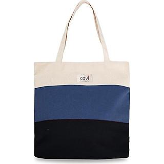 Túi tote đeo vai thời trang phối 3 Màu- Navy vải canvas