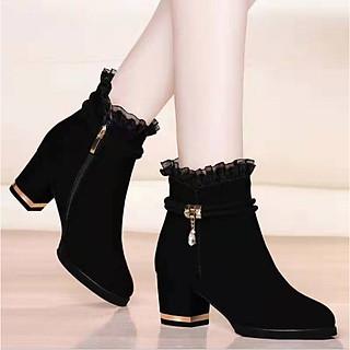 Giày Bốt Nữ Đế Vuông 4cm Kiểu Dáng Hàn Quốc Mã H94