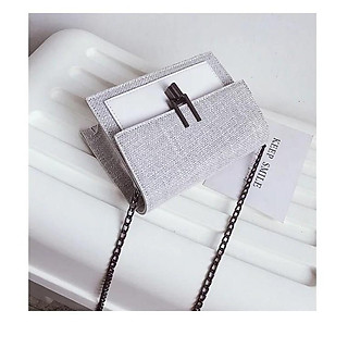 Túi đeo chéo nữ thời trang MINI T67 18x13x7cm kẻ chéo (Đen-Nâu-Xám)