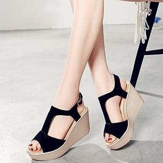 Giày Sandals nữ đế xuồng cao 7cm quai chữ T da lộn siêu nhẹ C33