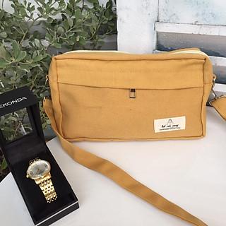 Túi tote đeo chéo vải canvas hộp nhỏ- vàng