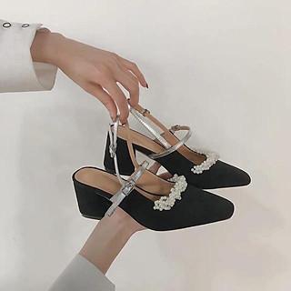 Giày nữ/ Giày mũi thuôn cao gót hở gót quai cài đính hạt