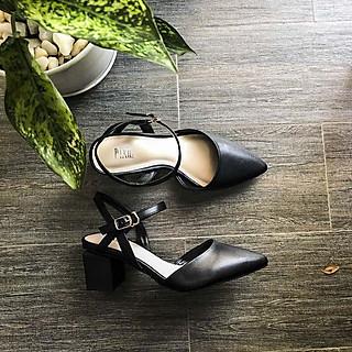 Giày Cao Gót 5cm Bít Mũi Quai Hậu Màu Nâu Pixie P125