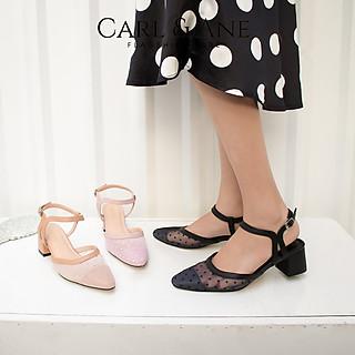 Giày cao gót Erosska thời trang bít mũi phối lưới chấm bi gót hở quai mảnh cao 5cm CL010