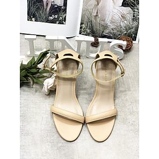 Giày sandal cao gót nữ bít hậu quai ngang cổ điển - Giày cao gót nữ 9cm - Giày nữ da mềm 3 màu Đen - Trắng Kem - Nâu - Linus LN286