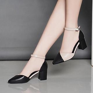 Giày cao gót nữ đẹp 7 phân công sở cao cấp da mềm phối màu đế vuông bít đầu