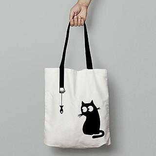 Túi Vải Tote Cao Cấp, Dày Dặn Túi Canvas Hình Mèo Nghịch Basic Dễ Phối Đồ