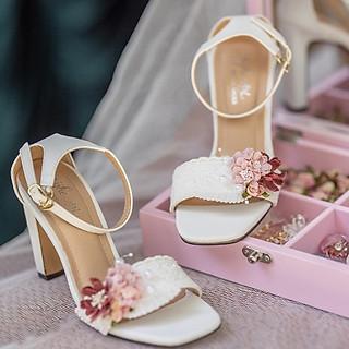 Giày cưới Nghé Art cao gót hoa hồng đỏ 300