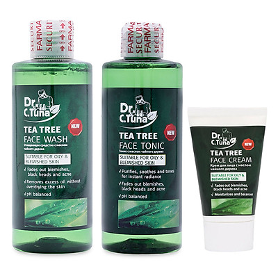 [Combo] Bộ 3 Tea Tree Trị Mụn: Gel rửa mặt 225ml & Serum 10ml & Kem Dưỡng 50ml - Dành Cho Da Dầu và Da Mụn Farmasi