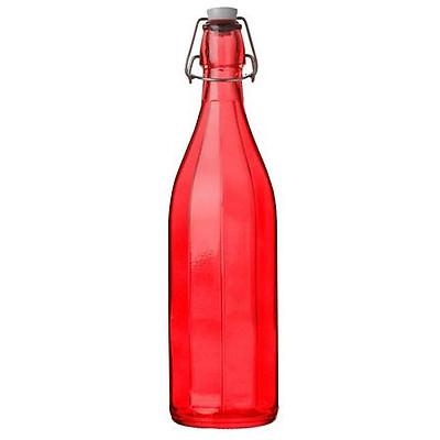 Chai Thủy Tinh Nắp Cài Kín Hơi Oxford Bormioli Rocco (Đỏ) - 1 Lít